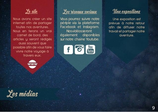 Les médias 9 Les réseaux sociaux Une expositionsLe site Vous pourrez suivre notre périple via la plateforme Facebook et In...
