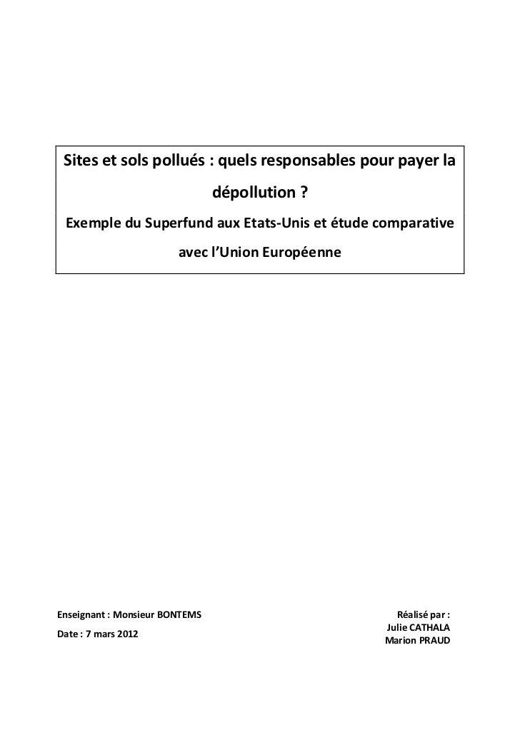 Sites et sols pollués : quels responsables pour payer la                                dépollution ? Exemple du Superfund...