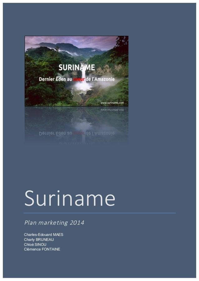Suriname   Plan marketing 2014  Charles-Edouard MAES Charly BRUNEAU Chloé SINOU Clémence FONTAINE