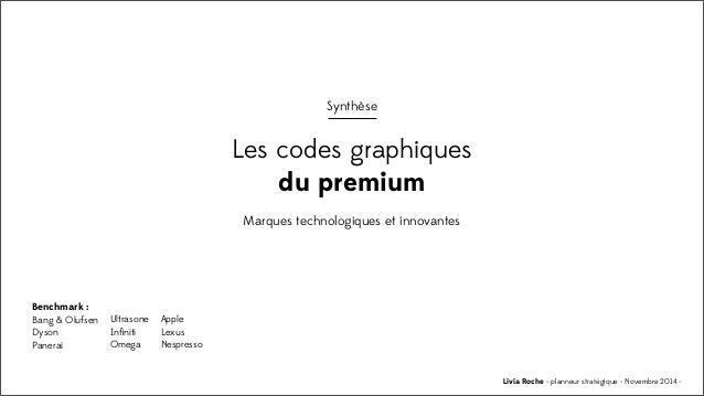 Livia Roche - planneur stratégique - Novembre 2014 - Synthèse Les codes graphiques du premium Marques technologiques et in...