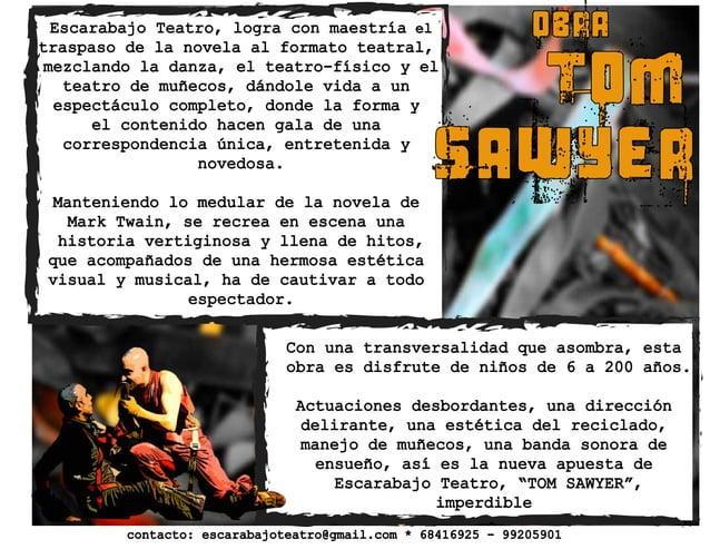 OBRAEscarabajo Teatro, logra con maestría el traspaso de la novela al formato teatral, mezclando la danza, el teatro-físic...