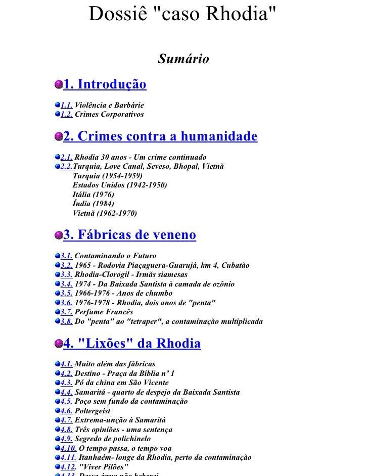 Dossiê caso Rhodia 1993 (contaminação por organoclorados)