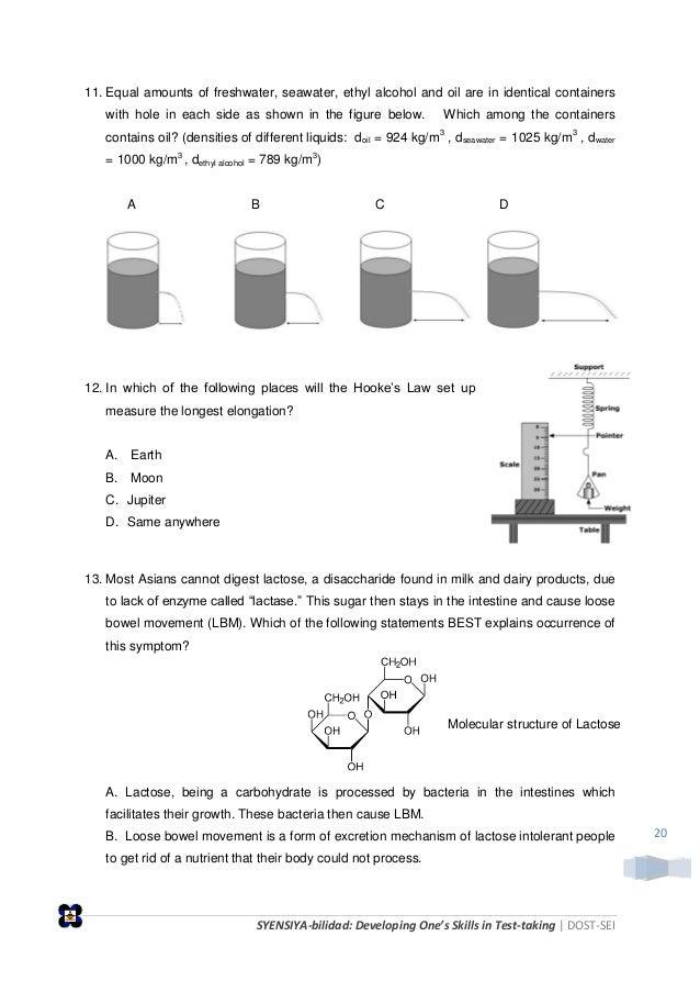 SYENSIYA-bilidad: Developing One's Skills in Test-taking   DOST-SEI 20 11. Equal amounts of freshwater, seawater, ethyl al...