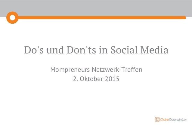 Do's und Don'ts in Social Media Mompreneurs Netzwerk-Treffen 2. Oktober 2015