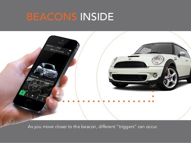 """BEACONS INSIDE As you move closer to the beacon, different """"triggers"""" can occur."""