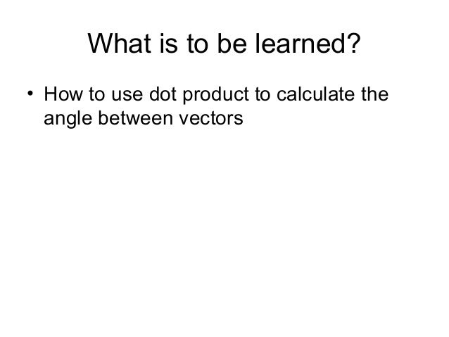 how to find angle with dot product