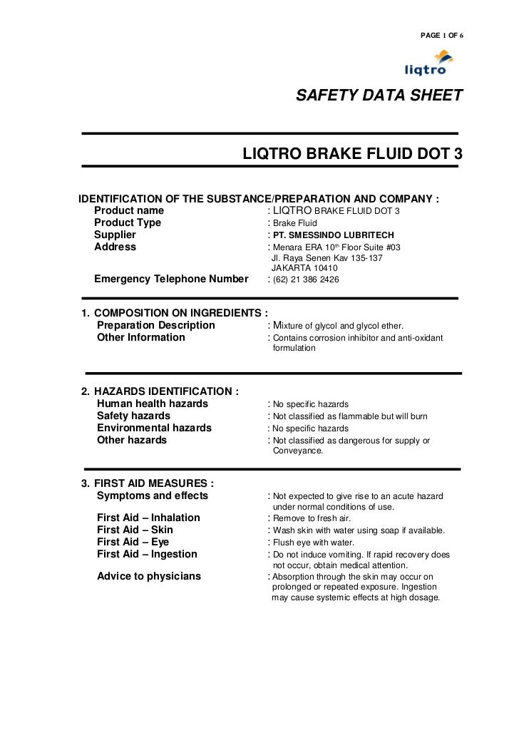 PAGE 1 OF 6                                               SAFETY DATA SHEET                                  LIQTRO BRAKE ...