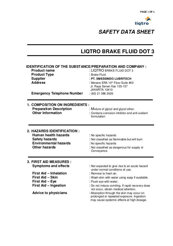 Brake Fluids Dot 3 Material Safety Data Sheet
