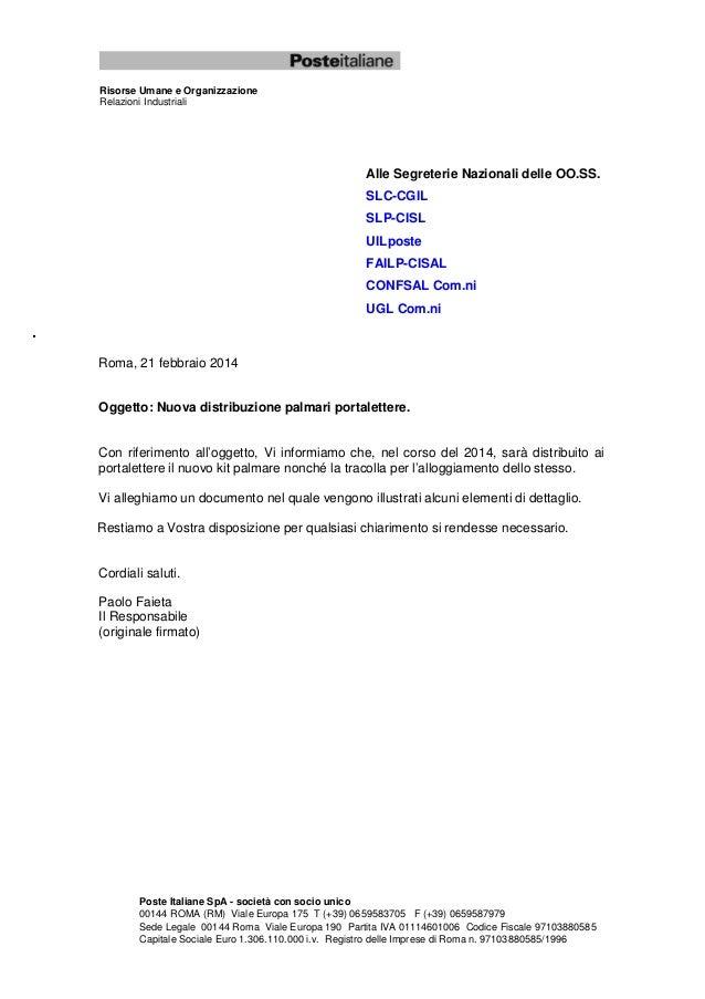 Risorse Umane e Organizzazione Relazioni Industriali  Alle Segreterie Nazionali delle OO.SS. SLC-CGIL SLP-CISL UILposte FA...