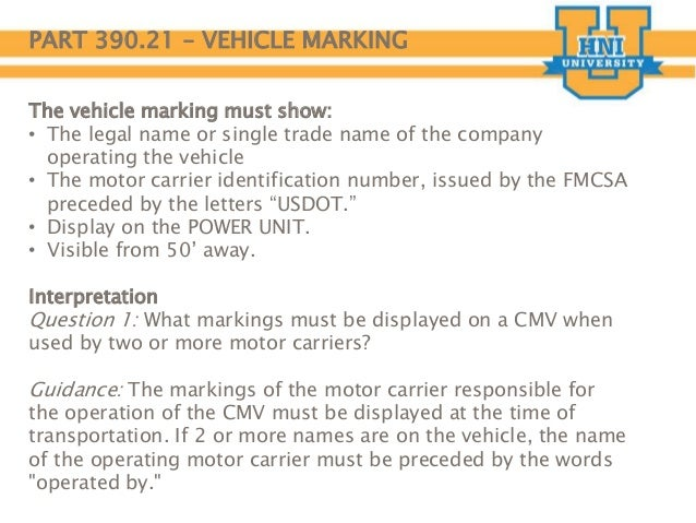 Dot compliance for Motor carrier identification report mcs 150