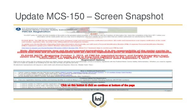 Dot compliance for trucking entities for Motor carrier identification report mcs 150