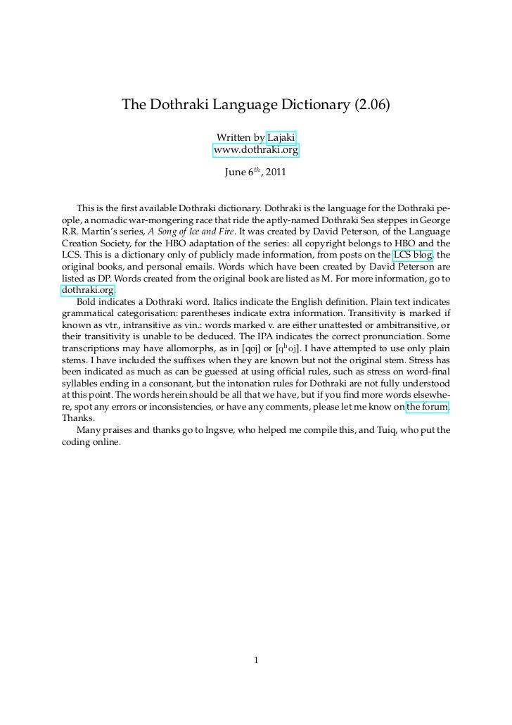 The Dothraki Language Dictionary (2.06)                                      Written by Lajaki                            ...