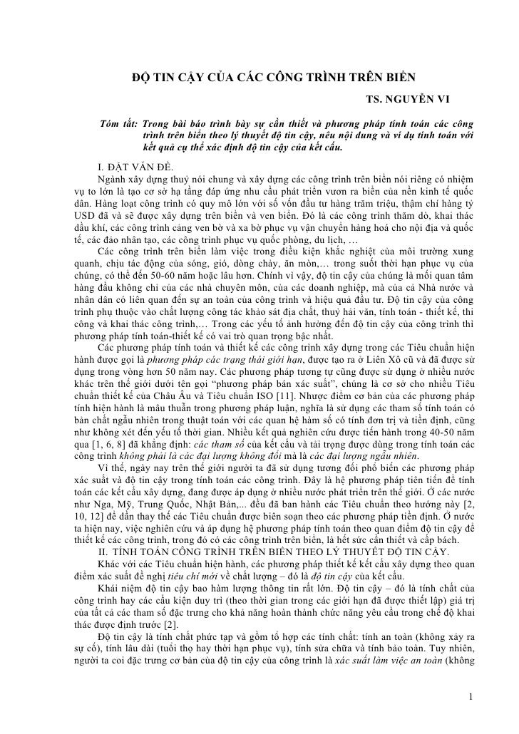 ĐỘ TIN CẬY CỦA CÁC CÔNG TRÌNH TRÊN BIỂN                                                                       TS. NGUYỄN V...