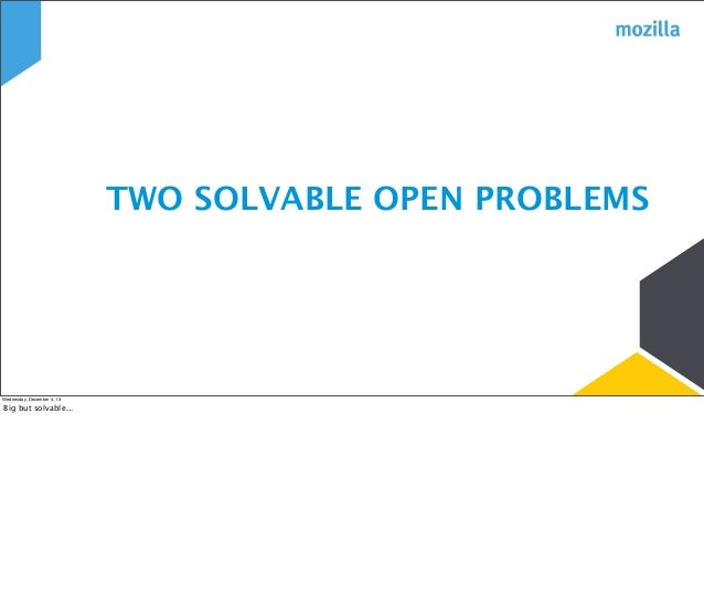 TWO SOLVABLE OPEN PROBLEMS  Wednesday, December 4, 13  Big but solvable...
