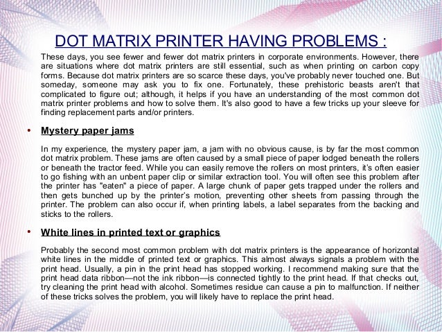 Dot Matrix Printer Toll Free Phone Number PPT