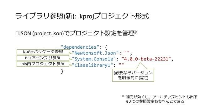 """ライブラリ参照(新): .kprojプロジェクト形式  JSON (project.json)でプロジェクト設定を管理※  """"dependencies"""": {  """"Newtonsoft.Json"""": """""""",  """"System.Console""""..."""