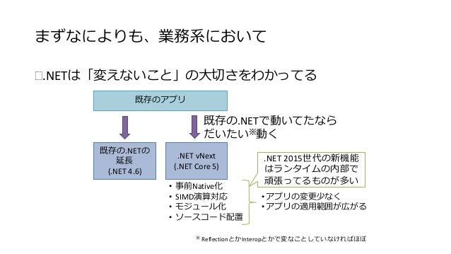 まずなによりも、業務系において  .NETは「変えないこと」の大切さをわかってる  既存のアプリ  既存の.NET  (.NET 4.5)  既存の.NETで動いてたなら  だいたい※動く  .NET vNext  (.NET Core 5)...