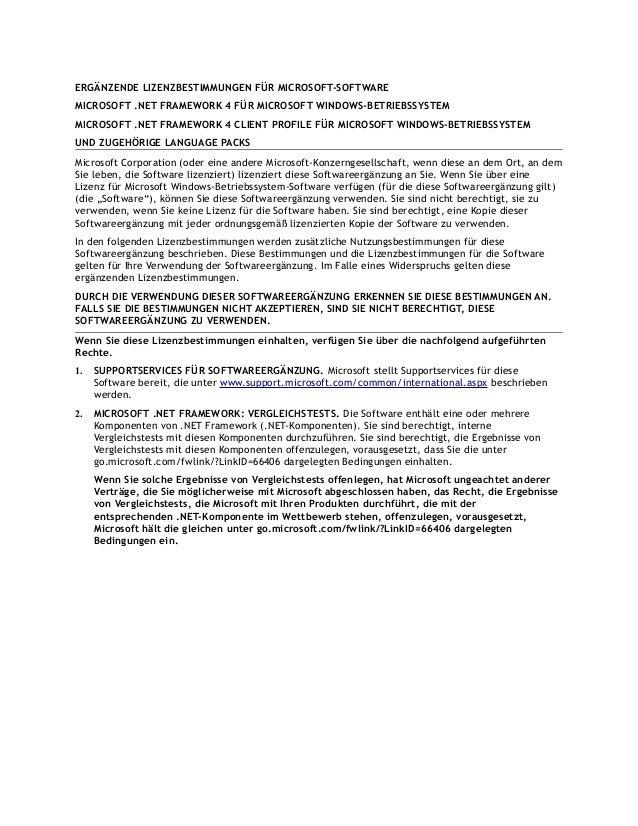 ERGÄNZENDE LIZENZBESTIMMUNGEN FÜR MICROSOFT-SOFTWARE MICROSOFT .NET FRAMEWORK 4 FÜR MICROSOFT WINDOWS-BETRIEBSSYSTEM MICRO...