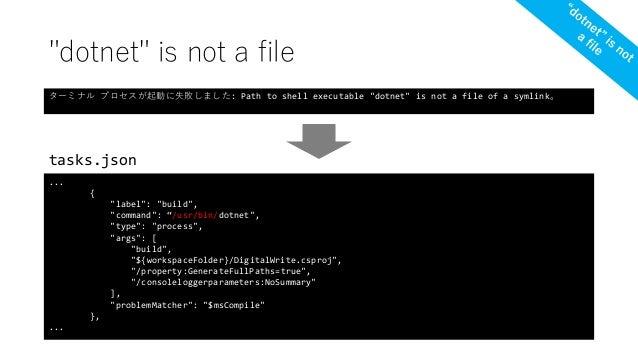 "tasks.json ... { ""label"": ""build"", ""command"": ""/usr/bin/dotnet"", ""type"": ""process"", ""args"": [ ""build"", ""${workspaceFolder}..."