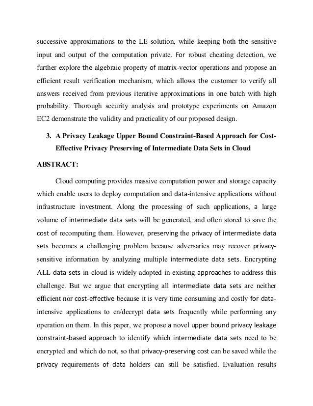a privacy leakage upper bound constraint based approach Ramamohanarao kotagiri ): novel cloud computing based workflow  a privacy  leakage upper-bound constraint based approach for cost-effective privacy.