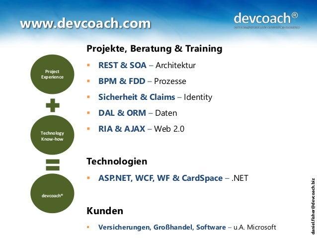 daniel.fisher@devcoach.biz www.devcoach.com Projekte, Beratung & Training  REST & SOA – Architektur  BPM & FDD – Prozess...