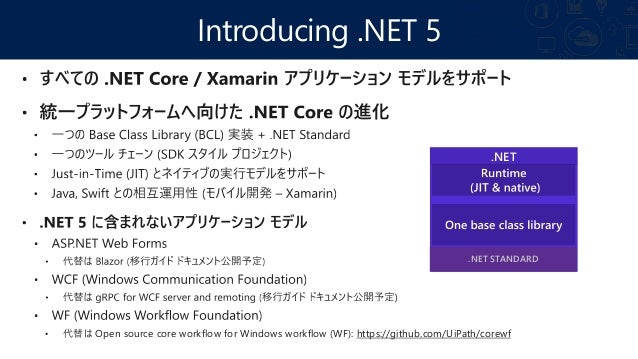 .NET 5 ~ すべてのアプリのための統一プラットフォーム .NET 5(Nov 2020) INFRASTRUCTURE .NET Standard DESKTOP WPF/Win Forms UWP WEB ASP.NET MOBILE ...