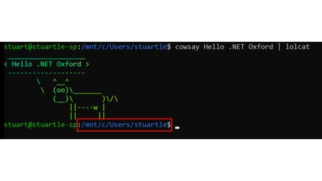 Windows Subsystem for Linux  NET Oxford Dec 2018