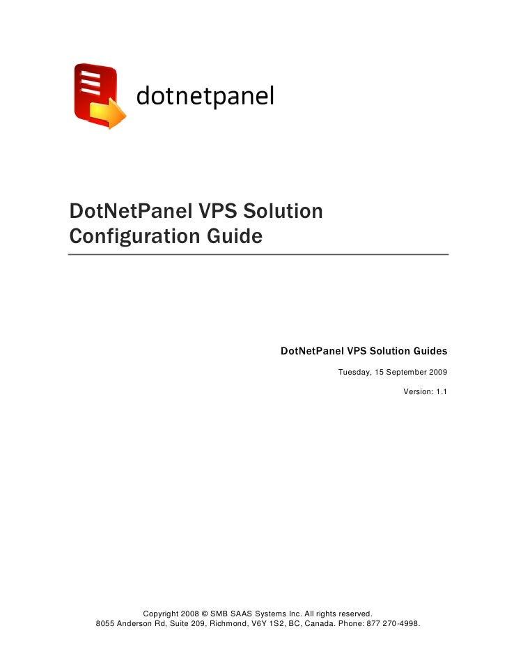 DotNetPanel VPS Solution Configuration Guide                                                   DotNetPanel VPS Solution Gu...