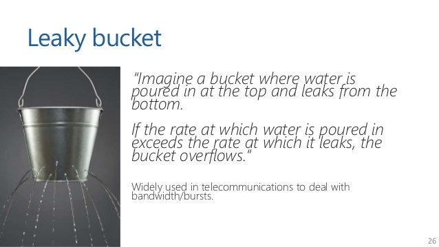 """26 Leaky bucket """"Imagine a bucket where water is poured in at the top and leaks from the bottom. If the rate at which wate..."""