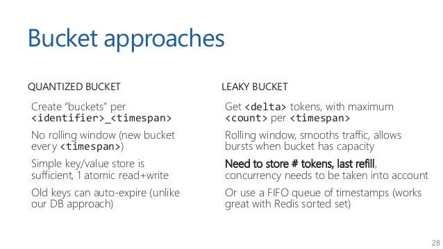 "28 Bucket approaches QUANTIZED BUCKET Create ""buckets"" per <identifier>_<timespan> No rolling window (new bucket every <ti..."