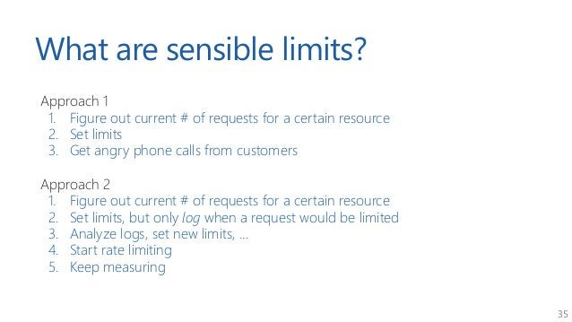35 What are sensible limits? Approach 1 1. Figure out current # of requests for a certain resource 2. Set limits 3. Get an...