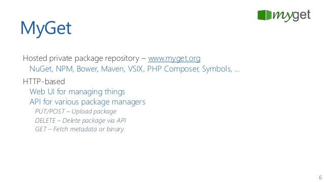 6 MyGet Hosted private package repository – www.myget.org NuGet, NPM, Bower, Maven, VSIX, PHP Composer, Symbols, ... HTTP-...