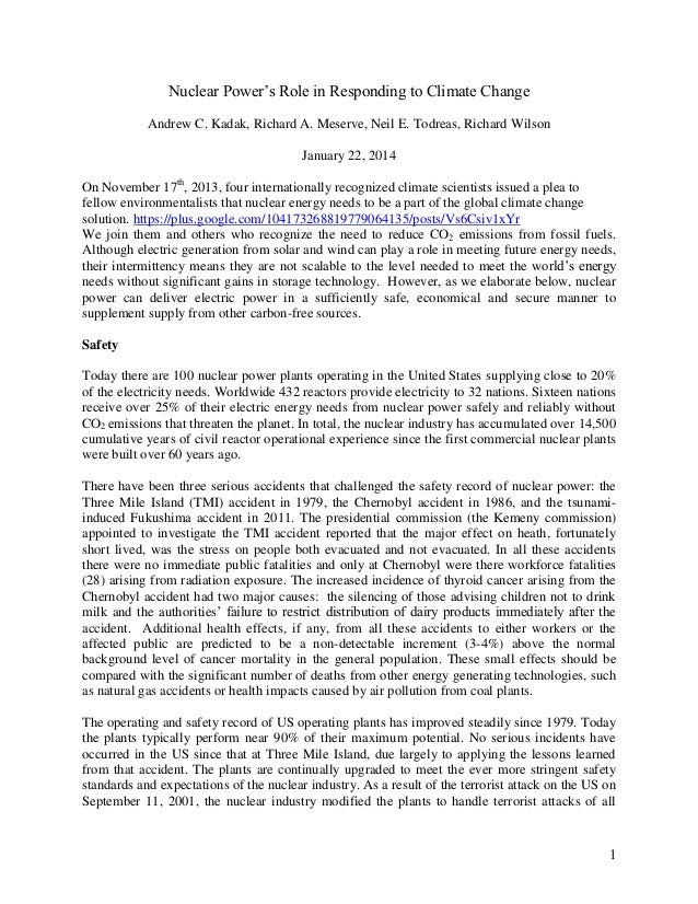 Nuclear Power's Role in Responding to Climate Change Andrew C. Kadak, Richard A. Meserve, Neil E. Todreas, Richard Wilson ...