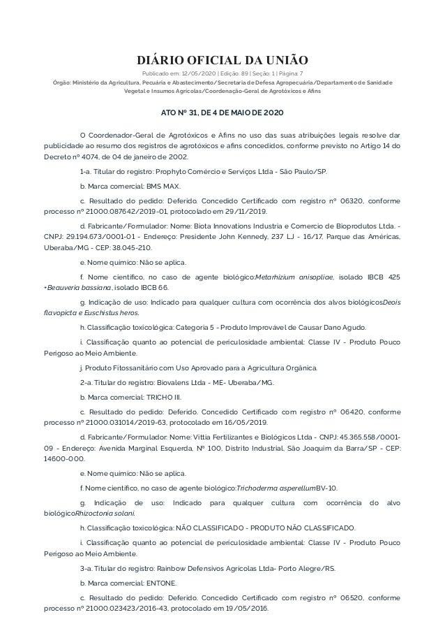 DIÁRIO OFICIAL DA UNIÃO Publicado em: 12/05/2020   Edição: 89   Seção: 1   Página: 7 Órgão: Ministério da Agricultura, Pec...