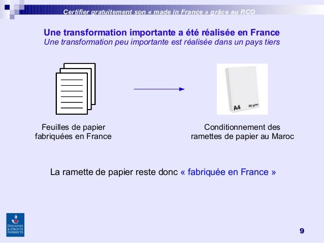 9 Une transformation importante a été réalisée en France Une transformation peu importante est réalisée dans un pays tiers...