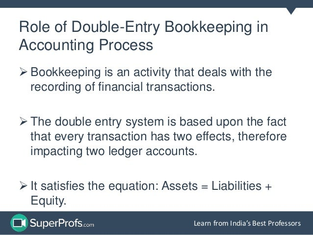 double entry accounting system Chapter 3: double-entry bookkeeping  • mistaken entries have to be reversed by a contra-entry • in electronic accounting systems the journal is the only data.