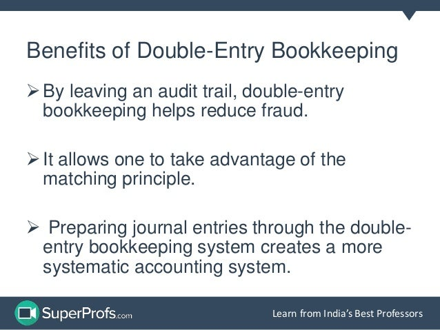 the double entry system A business entity can record its monetary transactions either on single entry  system or double entry system of bookkeeping the former is less.