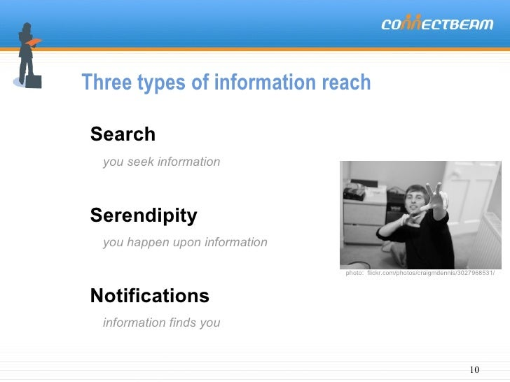 Three types of information reach Search you seek information Serendipity you happen upon information Notifications informa...