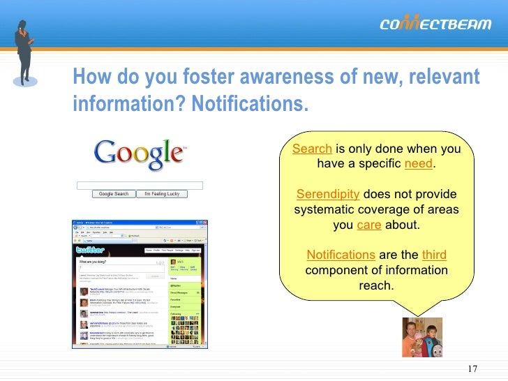 How do you foster awareness of new, relevant information? Notifications. Search  is only done when you have a specific  ne...