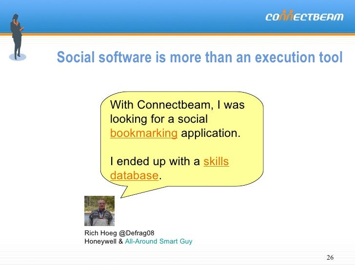 Social software is more than an execution tool  Rich Hoeg @Defrag08  Honeywell &  All-Around Smart Guy With Connectbeam, I...
