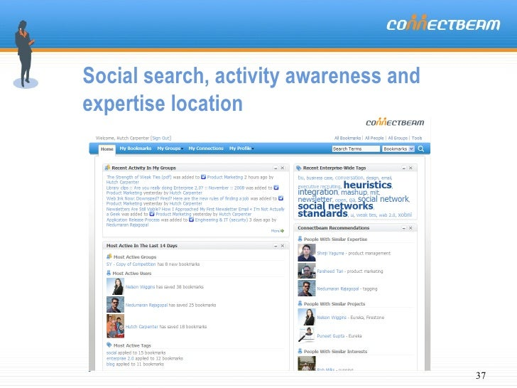 Social search, activity awareness and expertise location