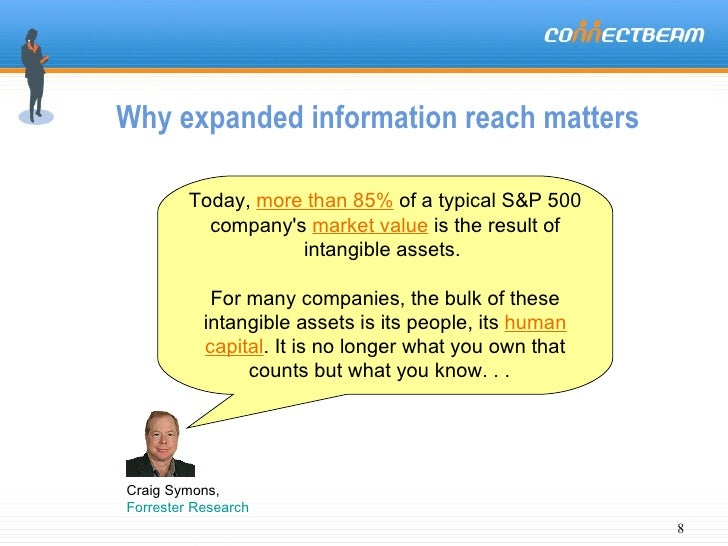 Why expanded information reach matters Today,  more than 85%  of a typical S&P 500 company's  market value  is the result ...