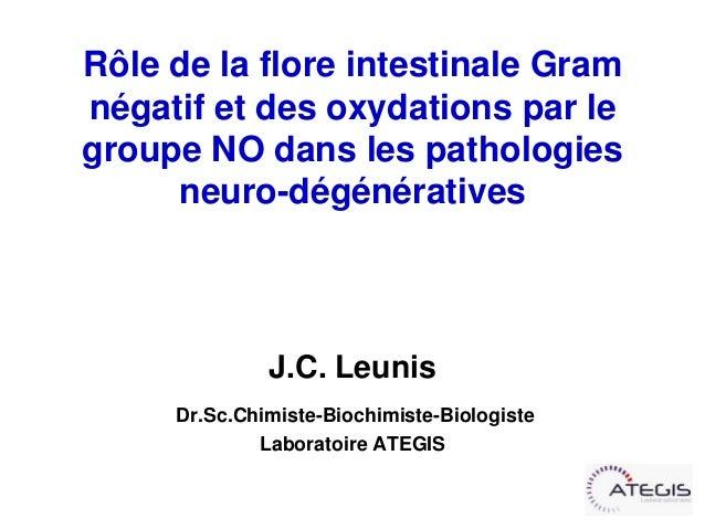 Rôle de la flore intestinale Gramnégatif et des oxydations par legroupe NO dans les pathologies     neuro-dégénératives   ...