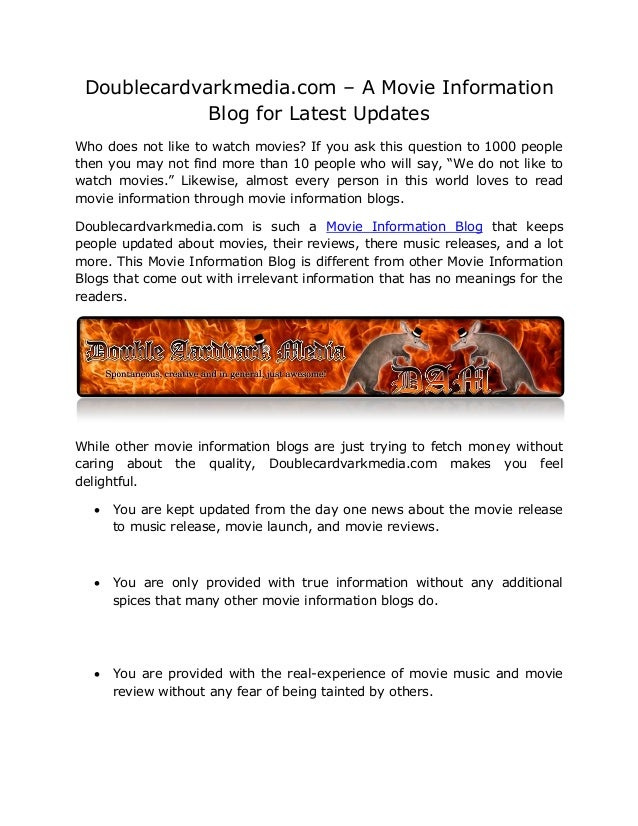 Doublecardvarkmedia.com – A Movie Information             Blog for Latest UpdatesWho does not like to watch movies? If you...