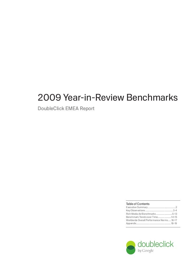 2009 Year-in-Review BenchmarksDoubleClick EMEA Report                          Table of Contents                          ...