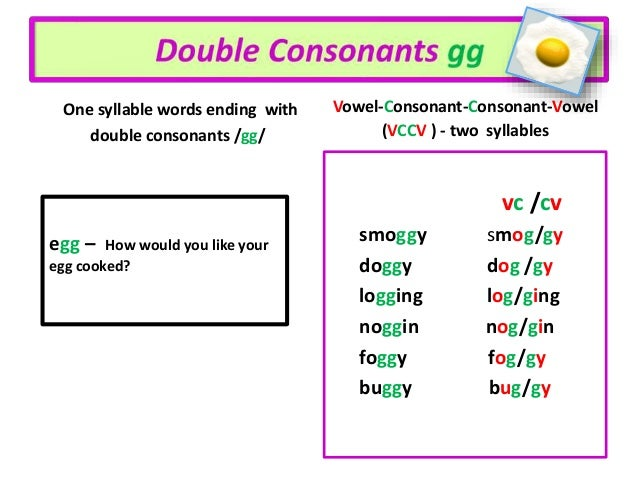 double consonants one syllable or two what is the rule