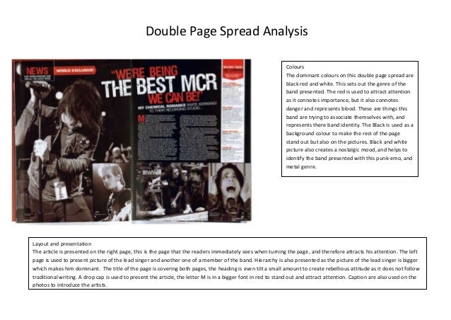 Double Page Spread Analysis Colours The dominant colours on this double page spread are black red and white. This sets out...