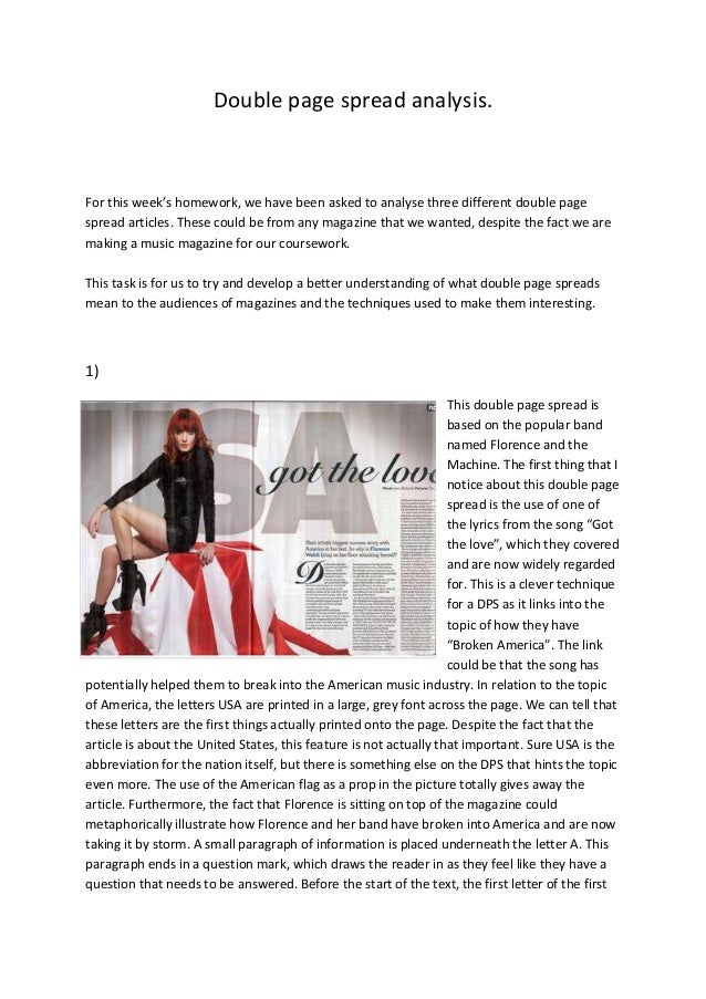 Double page spread analysis. For this week's homework, we have been asked to analyse three different double page spread ar...