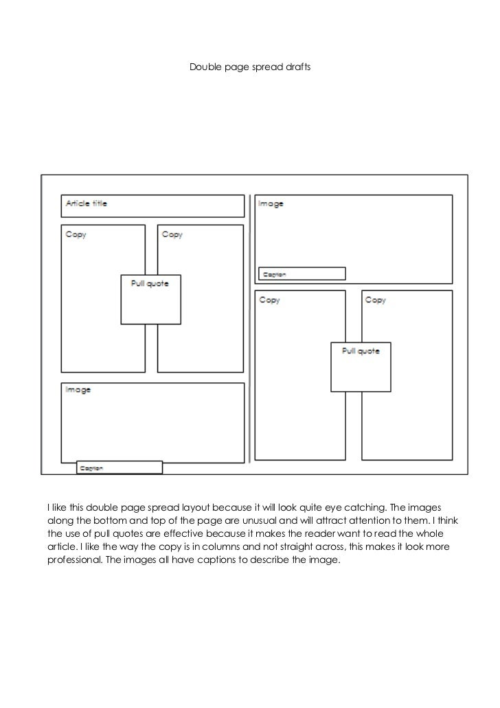 Double page spread drafts <br />-28575011366500<br />-28575019050I like this double page spread layout because it will loo...