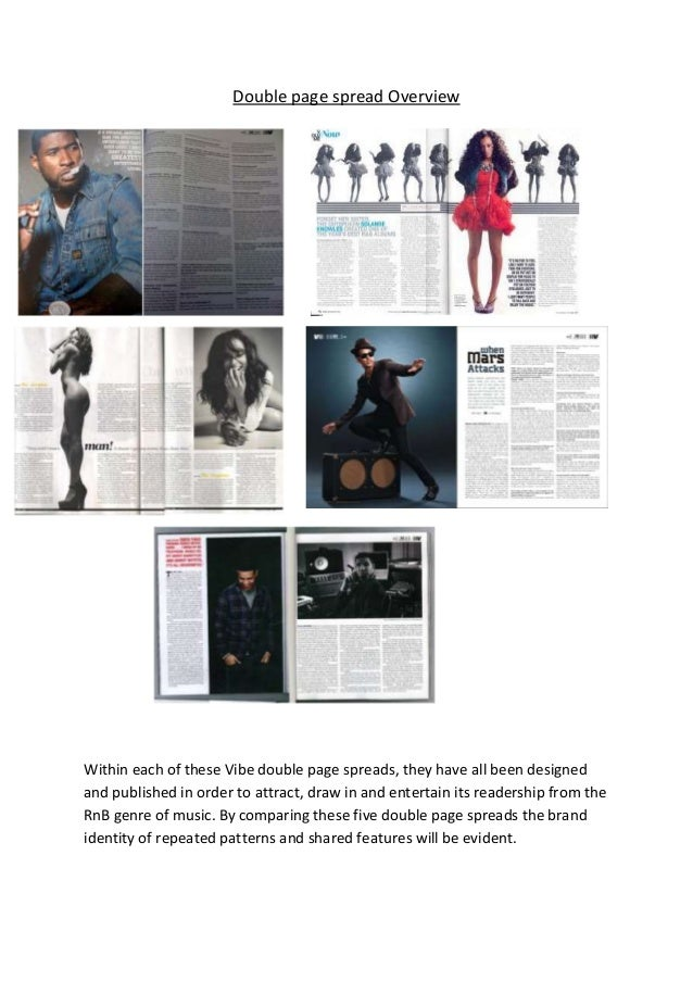 Double page spread OverviewWithin each of these Vibe double page spreads, they have all been designedand published in orde...